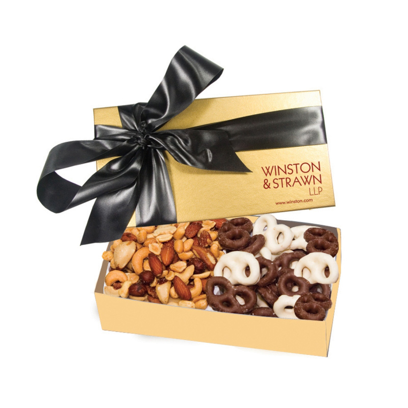 The Executive Gift Box - Mini Chocolate Covered Pretzels & Mixed Nuts
