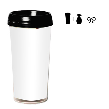16 oz. Plastic Travel Mug with 4 Color Insert