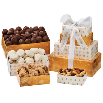Four-Tier Tower - Almond Tea Cookies, White Chocolate Mini Pretzels, Roasted Peanuts, Chocolate Truffles