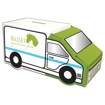 Custom Designed Banks - House, Milk Carton, Moving Truck, Box