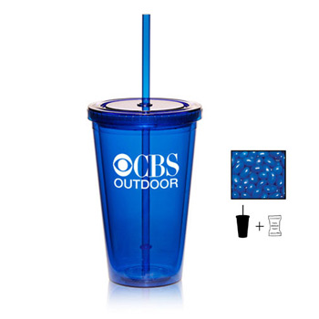 16 oz. Double Wall Tumbler With Corporate Color Chocolates, Corporate Color Jelly Beans